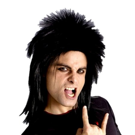 Fun World Mens Black Hard Rocker Wig Rockin 80s Shaggy Mullet