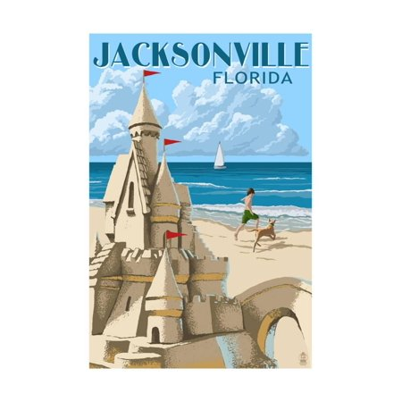 Jacksonville, Florida - Sand Castle Print Wall Art By Lantern Press (Halloween Jacksonville Florida)