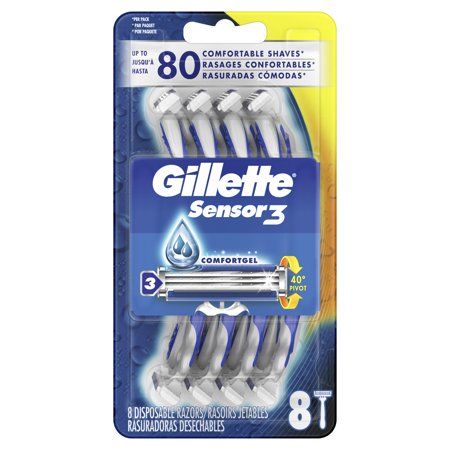 Gillette Sensor3 Men's Disposable Razor, 8 Razors