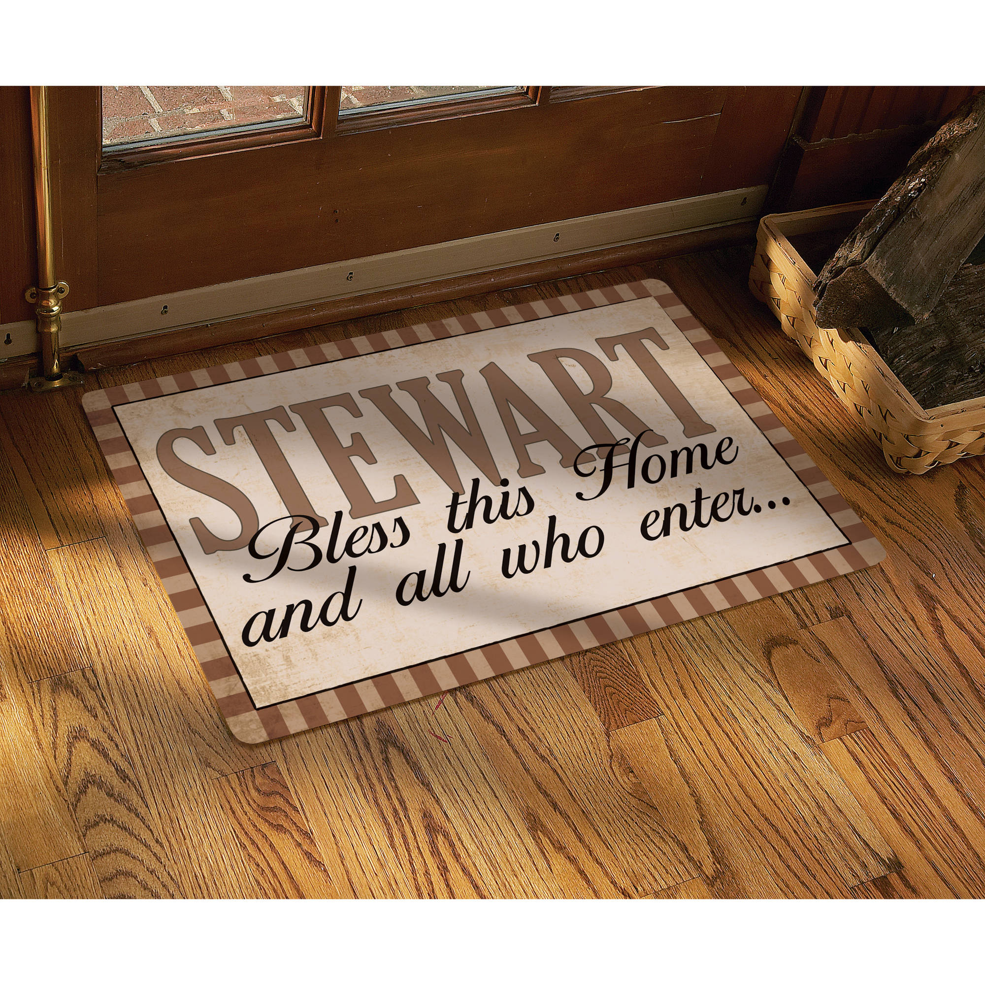 """Personalized """"Rustic Bless All Who Enter"""" Doormat, 17"""" x 27"""", Multiple Colors"""
