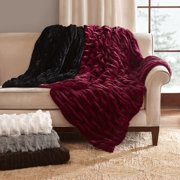 Home Essence Luxury Ruched Fur Throw