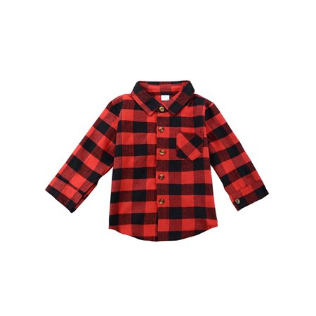 b5161bfa4 Funcee - Funcee Fashion Baby Boy Girl T-shirt Plaid Clothes Long Sleeve  Tops Children Shirts - Walmart.com