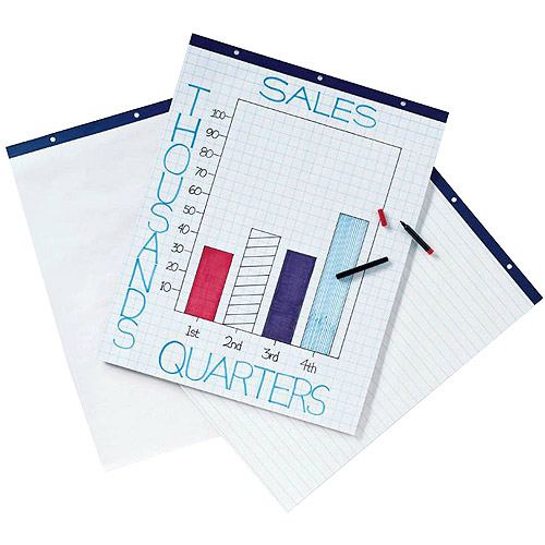 "School Smart Ruled Easel Pad, 27"" x 34"", 16 lb, White, 50 Sheets, Pack of 4"