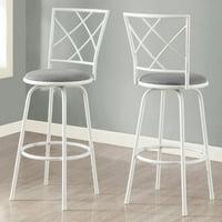 Monarch Barstool 2Pcs / Swivel / White / Grey Fabric Seat