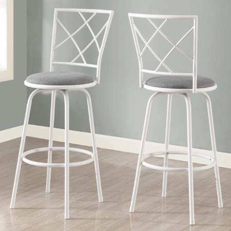 Monarch Barstool 2Pcs / Swivel / White / Grey Fabric Seat