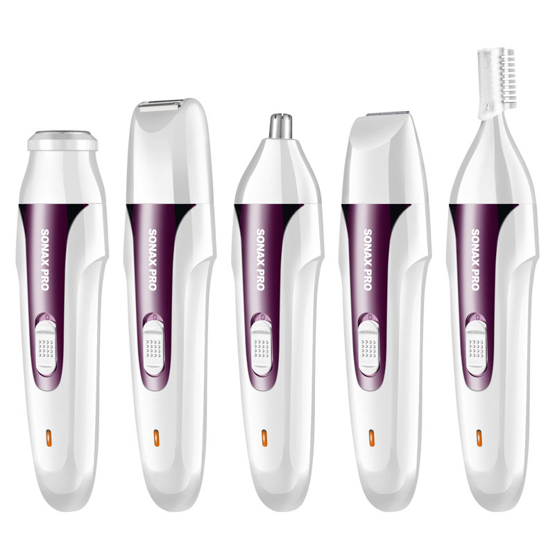 Topboutique Nose Ear & Hair Trimmer for Woman, 5 IN 1 USB Waterproof Electric Nose Ear Beard Body Trimmer Sideburns Eyebrow Shaver Facial Hair Grooming Kit,Wet and Dry Purple