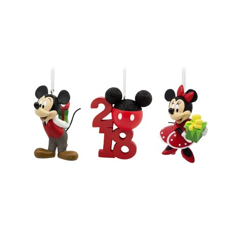 hallmark disney mickey and minnie 2018 christmas ornaments set of 3 - Mickey And Minnie Christmas Decorations
