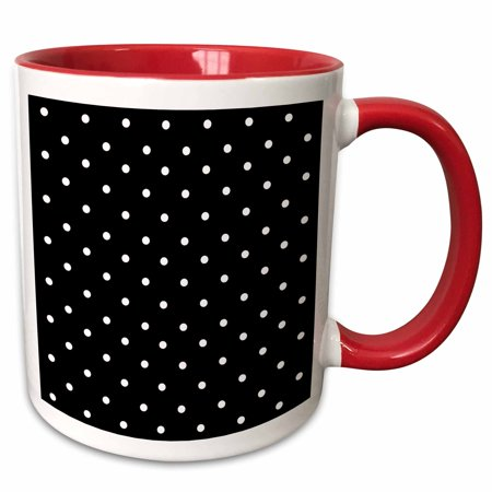 3dRose Black and white polka dot pattern - small dots - stylish classic - classy elegant retro dotty spotty - Two Tone Red Mug,