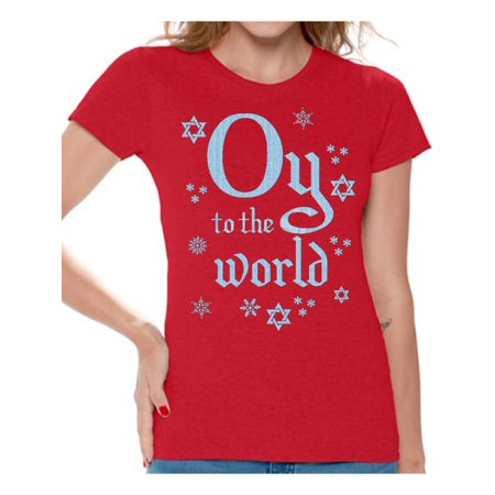 - Awkward Styles Oy To The World Hanukkah Shirt Funny Hanukkah Shirts for Women Ugly Hanukkah T Shirt Holiday Gifts for Her Jewish Tshirt Jewish Women Happy Hanukkah Shirt Jew Shirt Holiday Tshirt