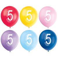 Latex Chalk Design Number 5 Balloons, Assorted, 12 in, 6ct