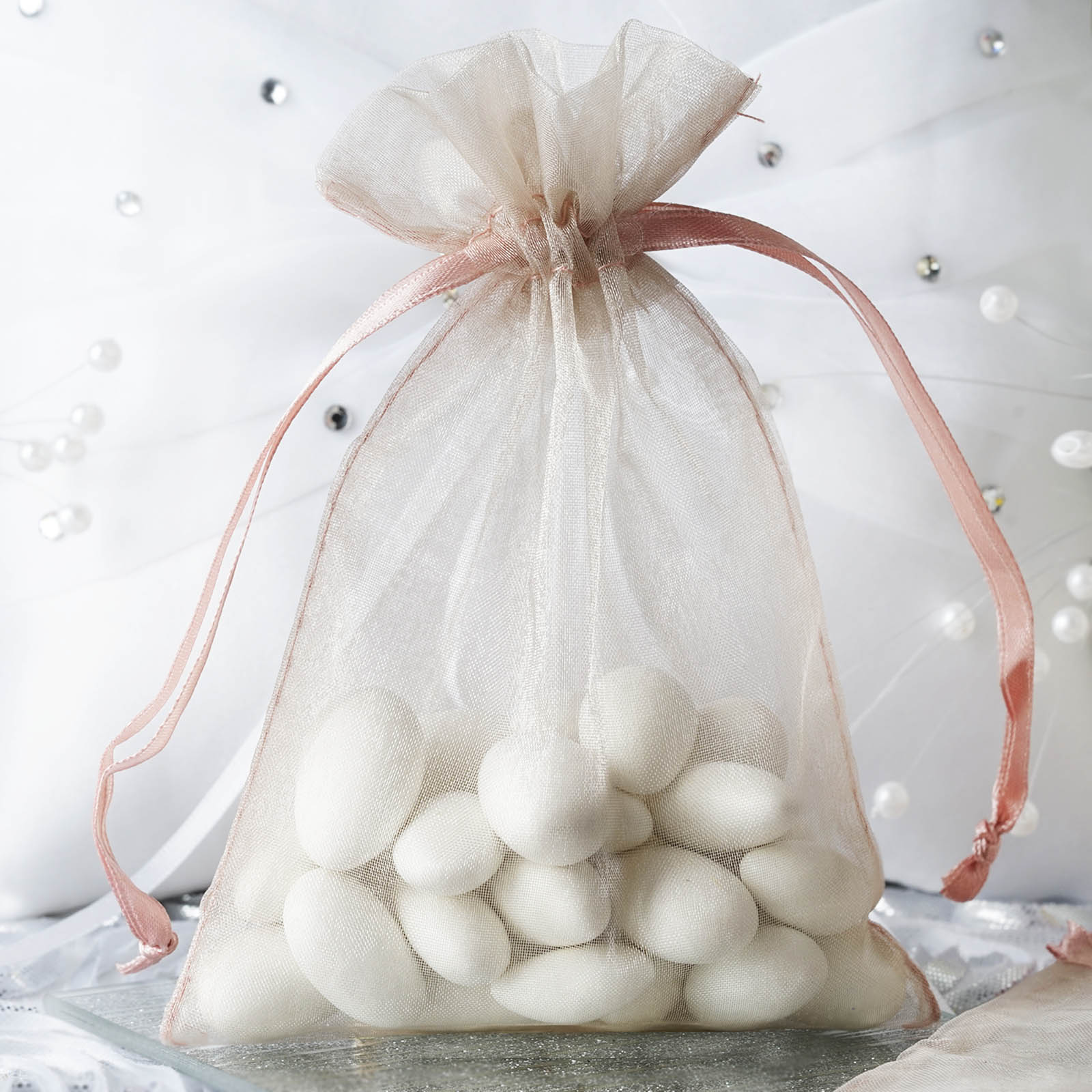 "Efavormart 50PCS  Organza Gift Bag Drawstring Pouch for Wedding Party Favor Jewelry Candy Sheer Organza Bags - 4""x6"""