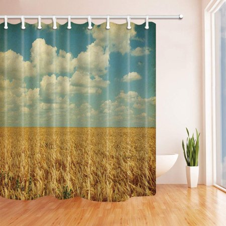 BSDHOME Texture of Old Paper Field of Wheat with Sunflowers Polyester Fabric Bathroom Shower Curtain 66x72 inches - image 1 de 1