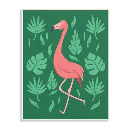 The Stupell Home Decor Collection Pink Flamingo Green Leaves Oversized Wall Plaque Art 125 X 05 185