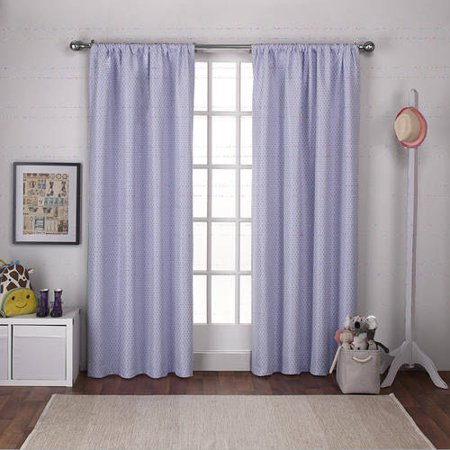 Exclusive Home Curtains 2 Pack Polka Dot Jacquard Blackout Rod Pocket Curtain (Dotted Circles Jacquard)