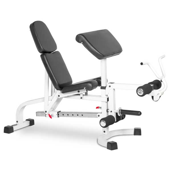XMark FID Weight Bench w/Leg Ext and Preacher Curl-White