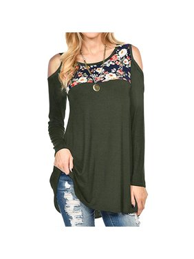 a4b3403d3e778 Product Image Women s Casual Long Sleeve Blouse Shirt Cold Shoulder Tunic  Tops