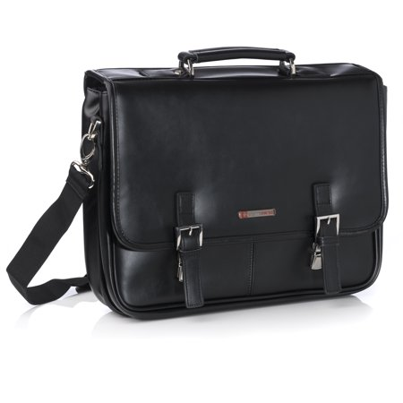Alpine Swiss Hunter Leather Briefcase Professional Messenger Bag Business Case Black One Size