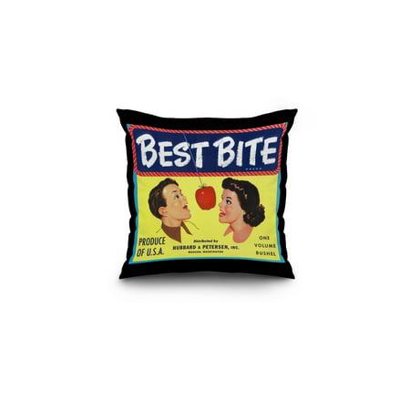 Best Bite Apple Label (16x16 Spun Polyester Pillow, Black