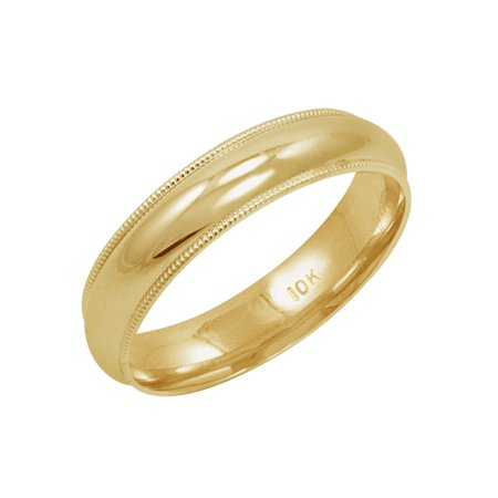 Men's 10K Yellow Gold 5mm Comfort Fit Milgrain Wedding Band  (Available Ring Sizes 8-12 1/2)
