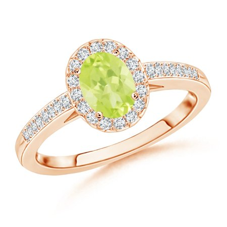 August Birthstone Ring - Classic Oval Peridot Halo Ring with Diamond Accents in 14K Rose Gold (7x5mm Peridot) - SR0218PD-RG-A-7x5-7