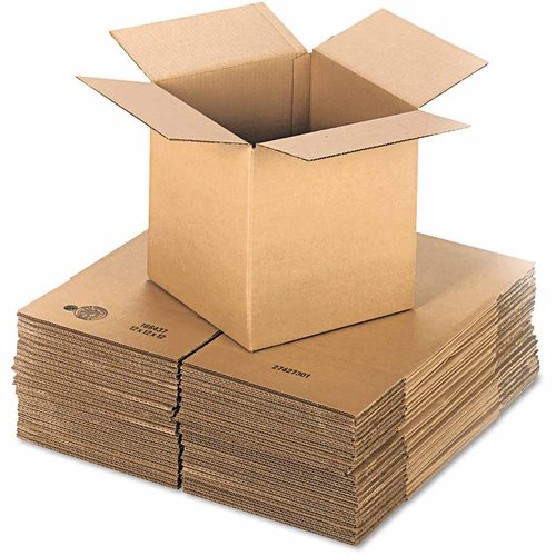 "General Supply Brown Corrugated, Cubed, Fixed Depth Boxes, 12"" x 12"" x 12"", 25 per Bundle"