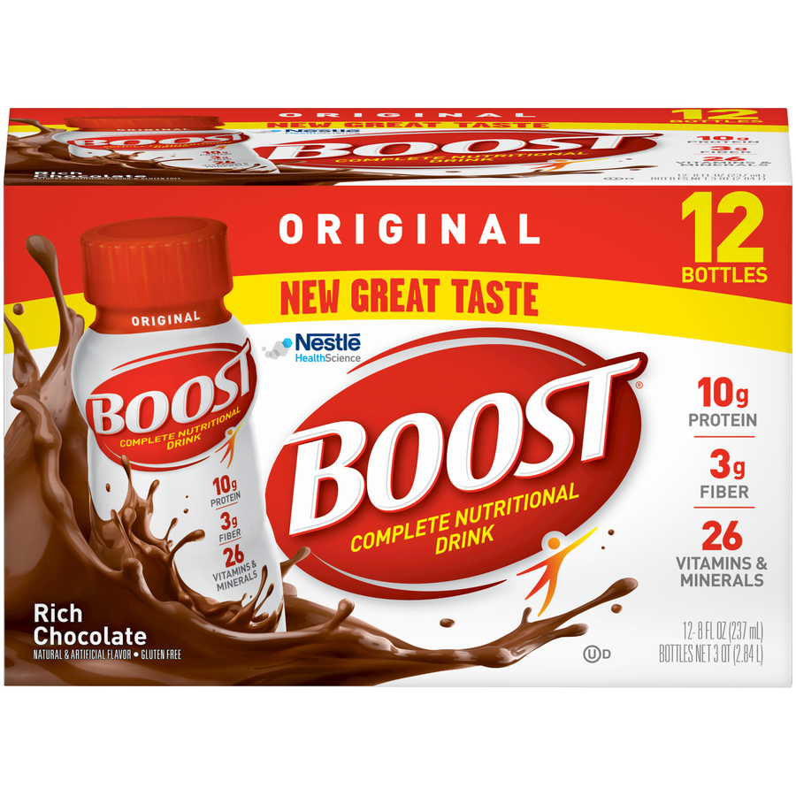Boost Original Complete Nutritional Drink, Rich Chocolate, 8 fl oz Bottle, 12 Count