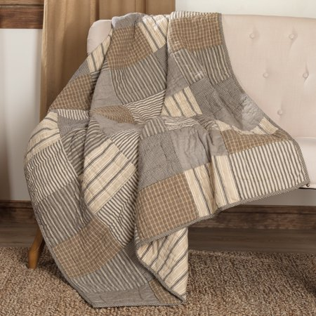 Charcoal Grey Farmhouse Decor Miller Farm Charcoal Block Rod Pocket Cotton Pre-Washed Patchwork Throw