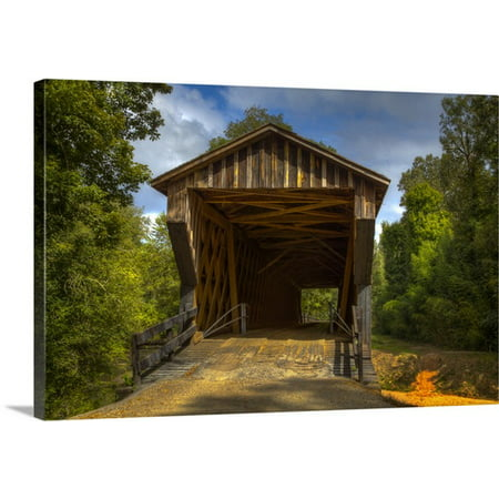 Great Big Canvas Joanne Wells Premium Thick Wrap Canvas Entitled Georgia  Oldest Wooden Covered Bridge In Georgia