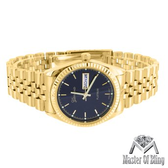 Mens Black Dial Watch Presidential Style 14k Gold Tone Luxury Style Party Wear