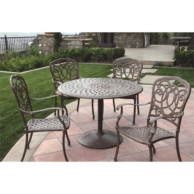 Darlee Florence 5 Piece 42 Quot Round Patio Dining Set With Seat Cushion Walmart Com