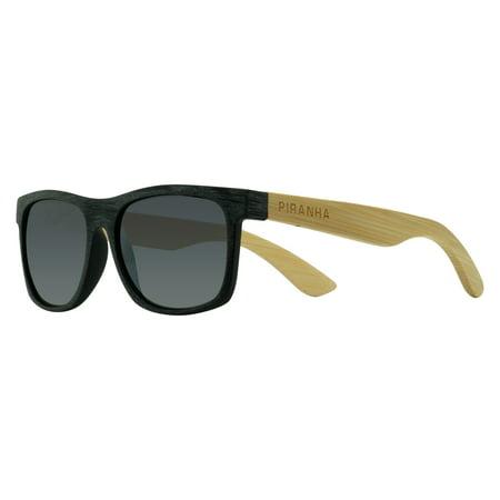 "Piranha ""Kauai"" Bamboo Sunglasses with Matte Black Frame and Smoke Lens"