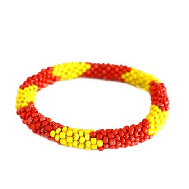 C Jewelry Red And Yellow Mixed Hand Beaded Roll On Bracelet