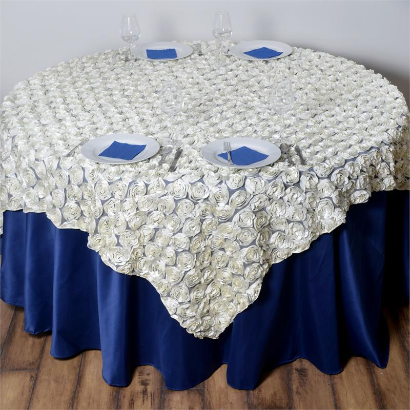 """Click here to buy BalsaCircle 72x72"""" Raised Roses on Square Lace Table Overlays Wedding Party Linens by BalsaCircle."""