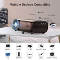 """Excelvan Projector,Home Theater Projector 200"""" Display 720P Projector 1080P video playing,with 2600lumens brightness,1300:1 contrast ratio,connect with laptop,TV box,tablet,PS4, Xbox, speaker"""