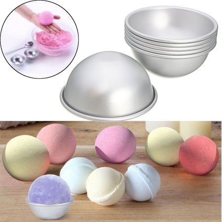 6Pcs(3 Kits) 65mm Aluminum Silver Round Bath Bomb Molds Tools For Fizzy