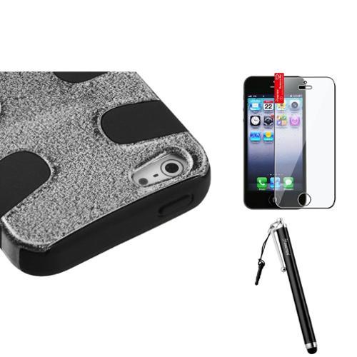 Insten Black Plating Matte Wrinkle/Black Fishbone Case For iPhone SE 5 / 5s + Stylus + Screen Protector