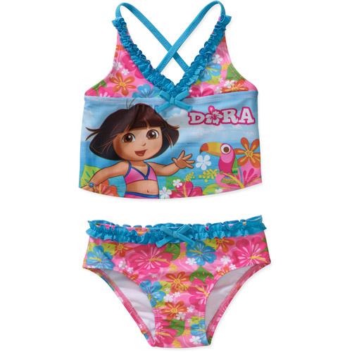 Nickelodeon Baby Girls' Dora 2-Piece Criss Cross Tankini Swimsuit