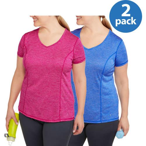 Danskin Now Women's Plus  Stripe V-Neck Tee 2-pack, Value Bundle