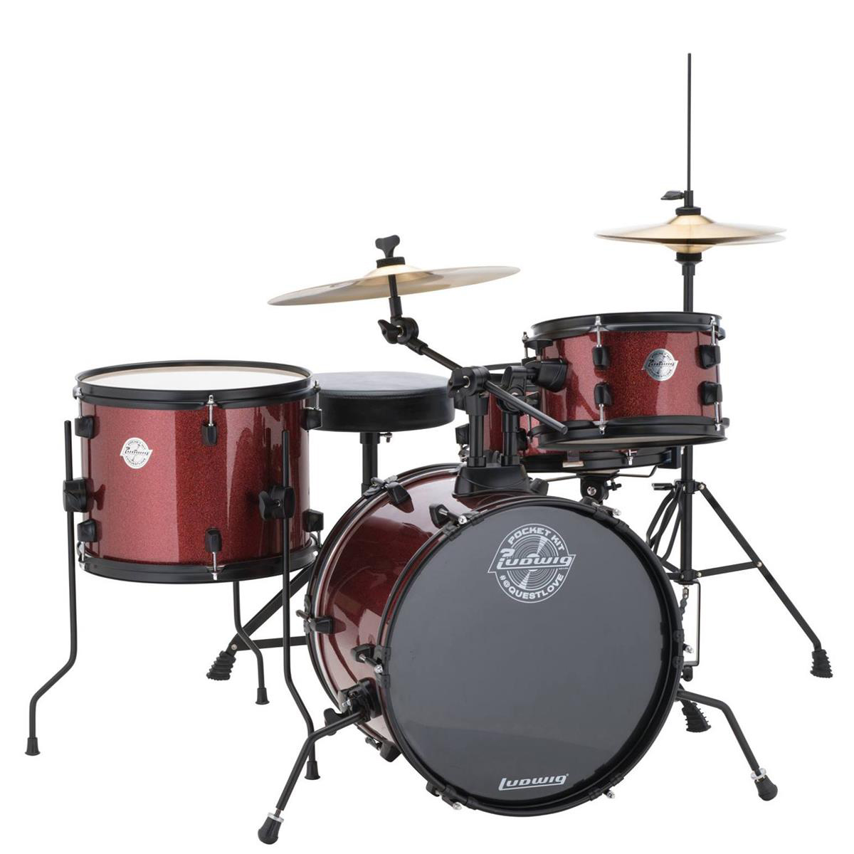 Ludwig LC178X025 Questlove Pocket Kit 4-Piece Drum Set - Red Wine Sparkle