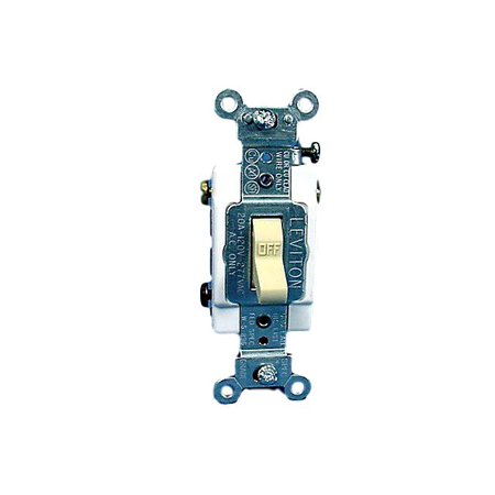 Switched Double Wall Light - Leviton Ivory COMMERCIAL Grade DOUBLE POLE Toggle Wall Light Switch 20A 120/277VAC 5522-2I