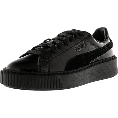 Puma Women's Basket Platform Patent Black / Ankle-High Fashion Sneaker - 6M Black Patent Thigh High Platform