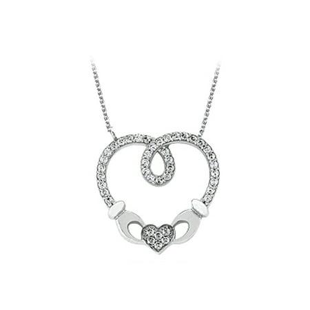 Pure Diamond Heart Shape Pendant in 14K White Gold ...