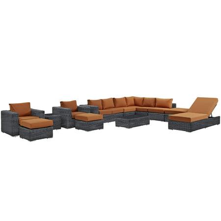 Image of Modern Contemporary Urban Design Outdoor Patio Balcony Twelve PCS Sectional Sofa Set, Orange, Rattan