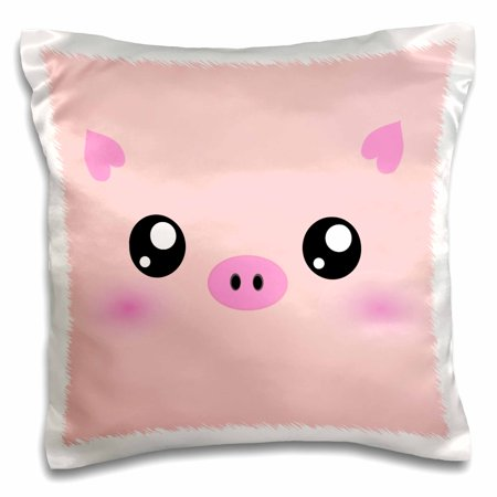 3dRose Kawaii pig face - cute pink minimalist farm animal cartoon - nursery kids child children girly girls - Pillow Case, 16 by 16-inch