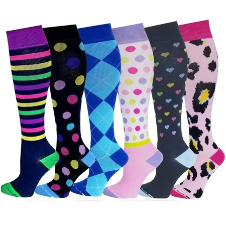 Differenttouch 6 Pairs Women Graduated Compression Knee High Socks 9-11 - Minion Knee Socks