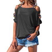 Women Summer Cold Shoulder Loose Top Blouse Ladies Casual Plain Tops T-Shirt Cutout Short Sleeve Baggy Pullover Gray M