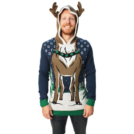 Ugly Christmas Sweater Men's Hooded Reindeer - Christmas Sweaters Calgary