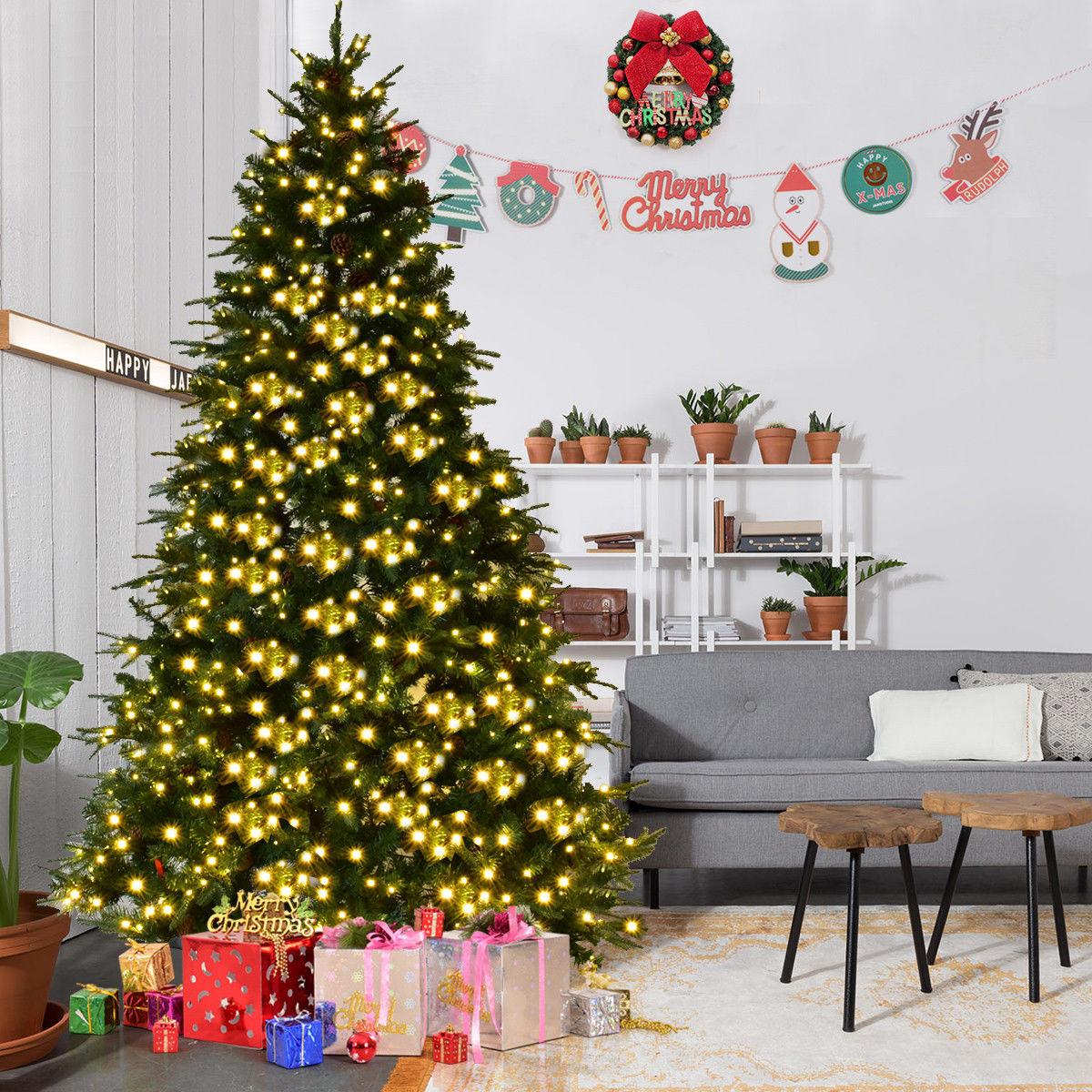 GHP 8-Feet Green PVC PE Iron Pre-Lit Hinged Christmas Tree w 120V 600-Pcs LED Lights