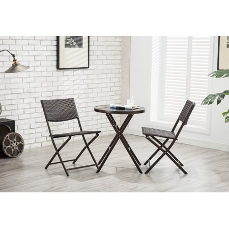 Porthos Home All-Weather Folding Metal Bistro Style Chair, Woven Rattan Back and Seat with Powder Coated Finish