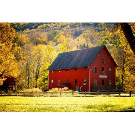 Red Barn and Autumn Foliage, Kent, Connecticut. Print Wall Art By Sabine Jacobs